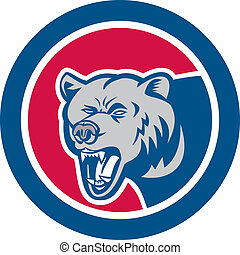 Grizzly Bear Head Side Circle Retro