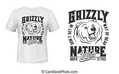 Grizzly bear mascot t-shirt print vector mockup