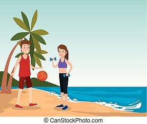 group of athletes practicing sport on the beach