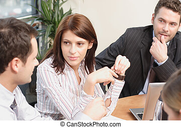 Group of business people working on project