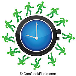 people running around the clock