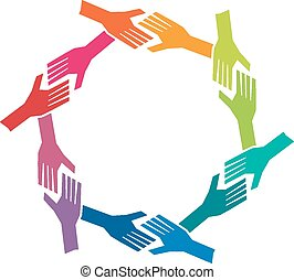Group oh People Hands in Circle. Concept of teamwork