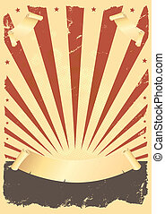 Illustration of a vintage fourth of july background with parchment scroll and banners