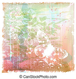 grunge background with butterfly and flowers