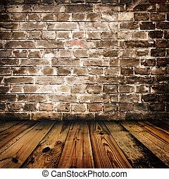 grunge brick wall and wooden floor