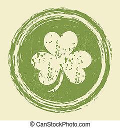 grunge clover leaf stamp vector