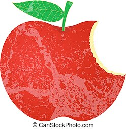 Abstract Grunge Eaten Red Apple Vector Shape Design