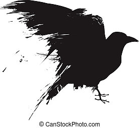 Vector illustration of the silhouette of a raven in grunge style.