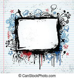 Grunge sketch frame illustration