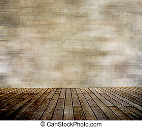Grunge wall and wood paneled floor, interior of a room.