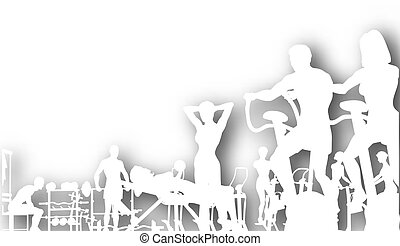 Editable vector cutout of people exercising in a gym with background shadow made using a gradient mesh