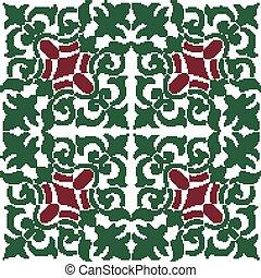 Halftone colorful seamless retro pattern green spiral plant vine kaleidoscope