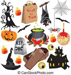 Halloween clip art party elements