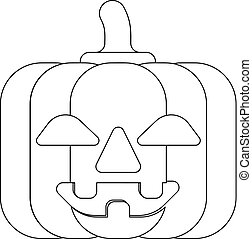 Halloween Cute Pumpkin Cartoon in Outline