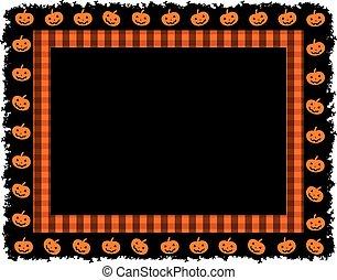 Halloween Pumpkin Gingham Frame