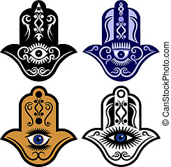 Vector illustration of a set of four Hamsa hands or the Eye of Fatima.