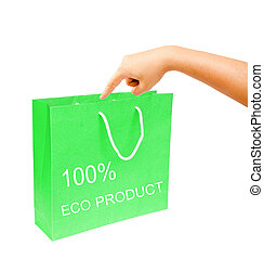 hand and blank green paper bag isolated on white background