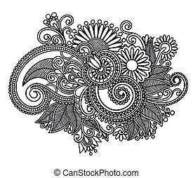 Hand draw line art ornate flower design. Ukrainian traditional style