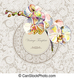 vintage template with watercolor orchid flower