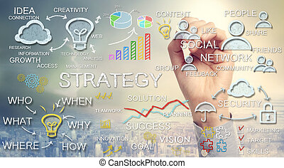 Hand drawing business strategy concepts with chalk