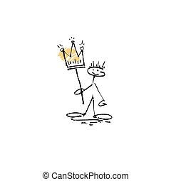 hand drawing sketch human smile stick figure with crown