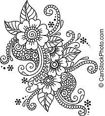 Hand-Drawn Abstract Henna Mehndi Flower Ornament