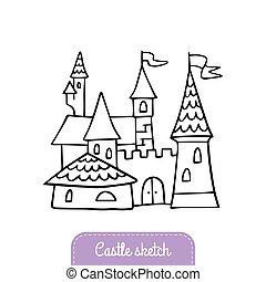 Hand-drawn cartoon castle. Doodle fairytale castle for magic kingdom. Vector Illustration good for a logo, greeting card, banner, invitation or flyer.