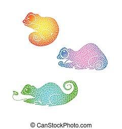 hand Drawn doodle chameleon. Rainbow gradient chameleon