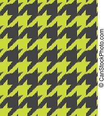 Hand drawn ikat houndstooth seamless pattern