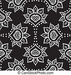 detailed hand drawn ethnic ornament, with thick lines and stylized flowers, black and white, seamless fabric design, vector background