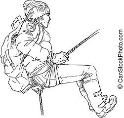 hand drawn mountain climber illustration