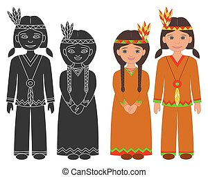 Native American Indian boy and girl.