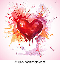 Hand drawn painted red watercolor heart