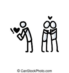 Hand Drawn Romantic Stick Figure Couple. Concept of Love Relationship. Simple Icon Motif for Dating App Pictogram. Heart, Romance, Valentines Day, Anniversary Bujo Illustration. Vector EPS 10.