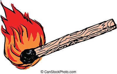 hand drawn, sketch, illustration of match stick