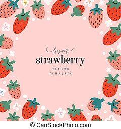 Hand drawn strawberry frame template, circle border with copyspace for text, vector composition with cute doodle red berries on pink background, modern design, good as banner or card