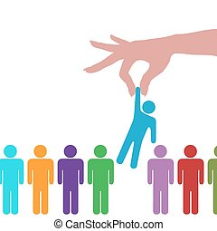 A hand to reach find select a person from a row of people.