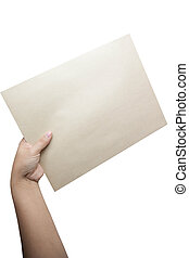 hand holding blank paper isolated on white background