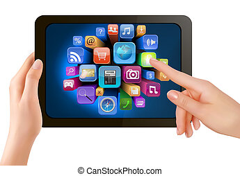 Hand holding touch pad pc and finger touching it's screen with icons. Vector