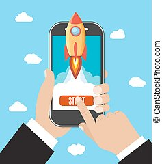 Hand holds smartphone with launch rocket.