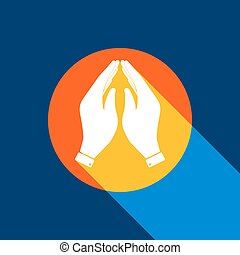 Hand icon illustration. Prayer symbol. Vector. White icon on tangelo circle with infinite shadow of light at cool black background. Selective yellow and bright navy blue are produced.