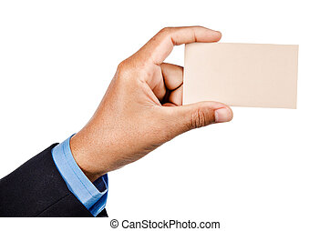 Hand of businessman holding blank business card.