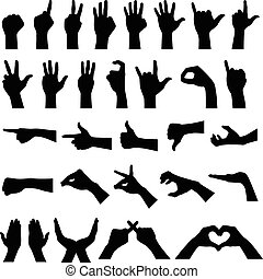 A set if hand sign gesture silhouettes.