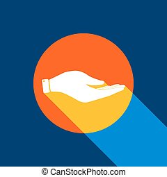 Hand sign illustration. Vector. White icon on tangelo circle with infinite shadow of light at cool black background. Selective yellow and bright navy blue are produced.