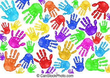 Multiple Painted Handprints of School Age Preschool Children