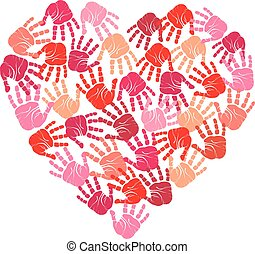 Handprint heart, vector