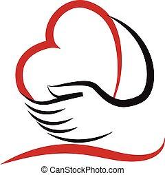 Hands and heart love logo vector