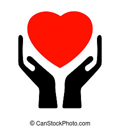 Hands holding the heart. EPS 8 vector file included