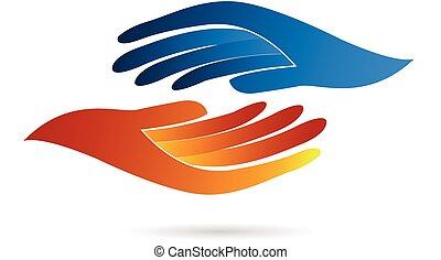 Handshake business concept identity card web vector icon