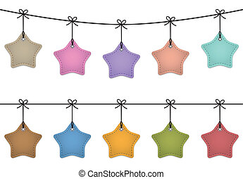 Hanging star labels made of leather. Price tags for commerce. Vector set